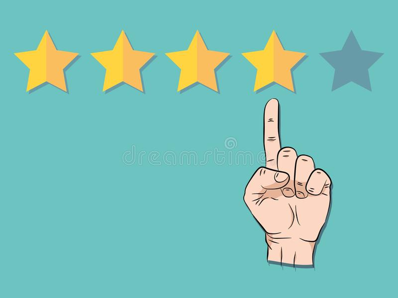 Hand pointing at one of five stars. Rating, evaluation, success, feedback, review, quality and management concept vector illustration