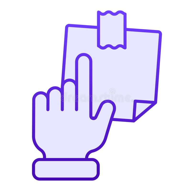 Hand pointing at sticky note flat icon. Finger pointing to paper sticke blue icons in trendy flat style. Notepaper. Gradient style design, designed for web and stock illustration