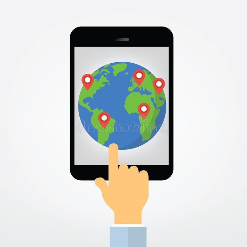 Hand pointing on tablet computer display illustration stock illustration