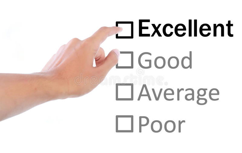 Hand pointing to excellent on quality survey royalty free stock image