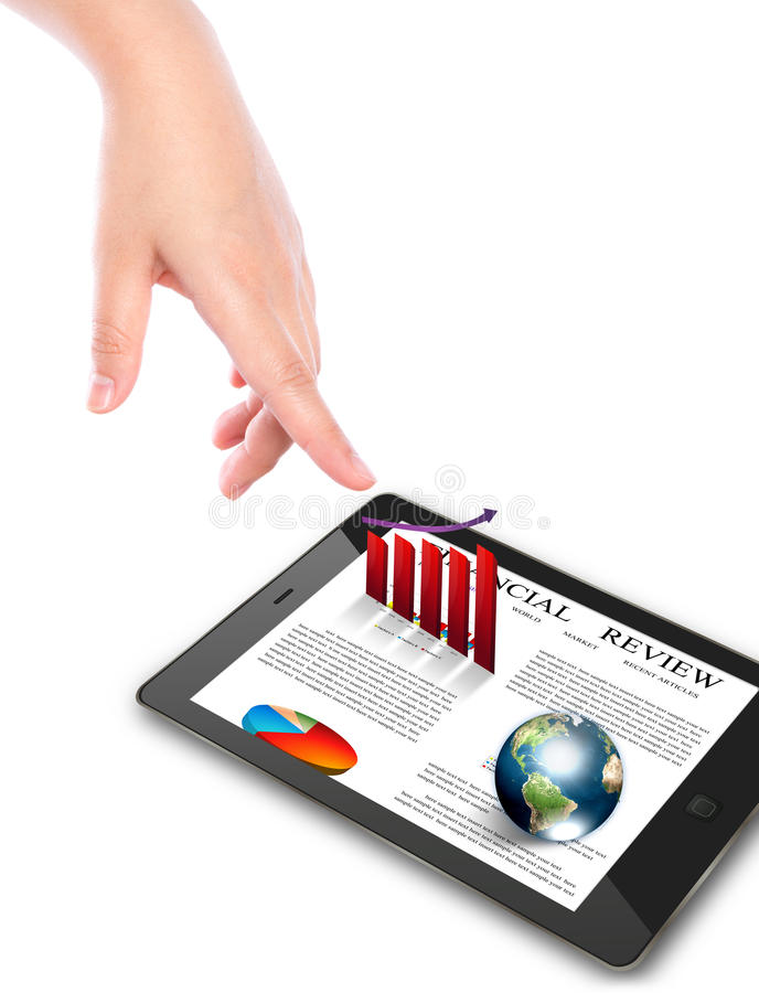 Download Hand Pointing On Touch Screen Device. Royalty Free Stock Images - Image: 25164539