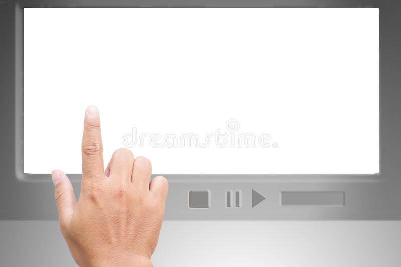 Hand Pointing On White Blank Screen Stock Image