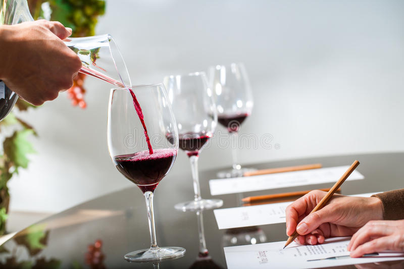 Hand pouring red wine at wine tasting. Close up of sommelier pouring red wine with decanter at wine tasting.Female hand taking notes at table royalty free stock images