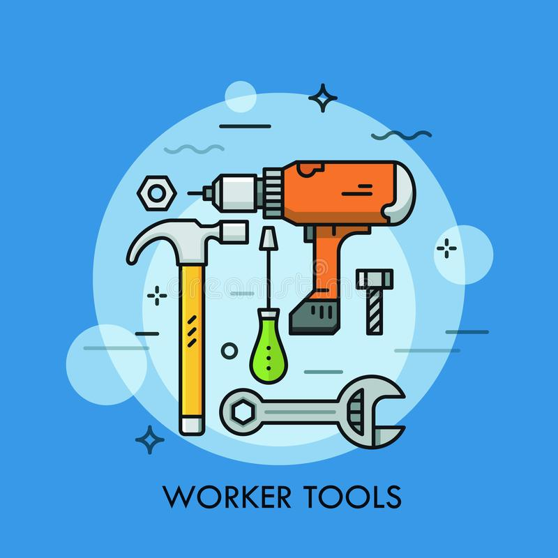 Hand and power tools and machines - screwdriver, wrench, electric drill, hammer, bolt and nut. Concept of manual and stock illustration