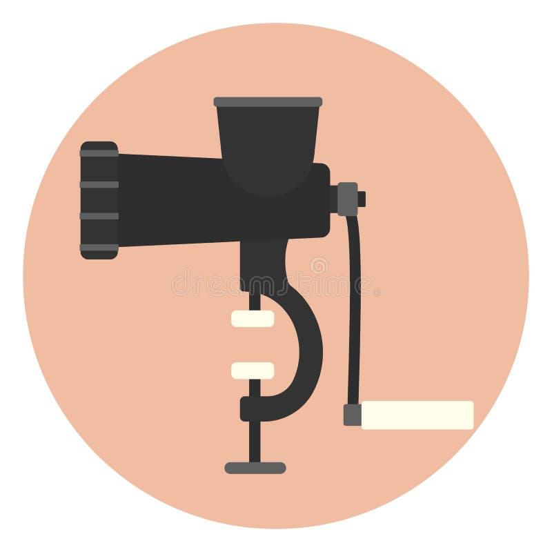 Hand powered mincer, kitchen hand meat grinder. Hand powered mincer icon, kitchen hand meat grinder, monochrome mincing machine royalty free illustration