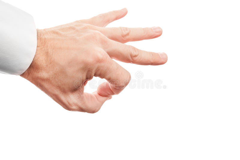 Hand preparing flick with his index finger isolated on white. Closeup photo of business man hand preparing flick with his index finger isolated on white stock images
