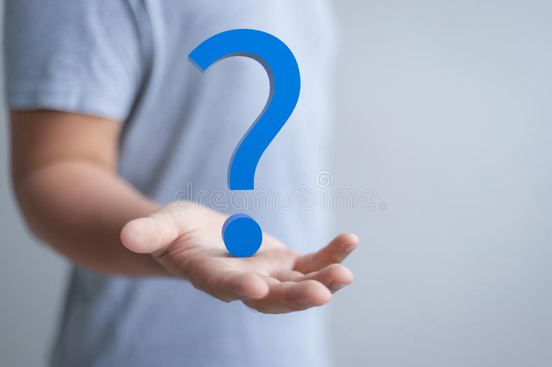 Hand present question mark. Human hand present 3d rendering blue question mark royalty free stock photo