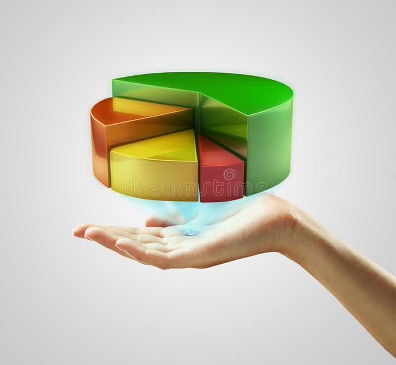 Download Hand Presenting A Pie Chart Button Royalty Free Stock Images - Image: 21550389
