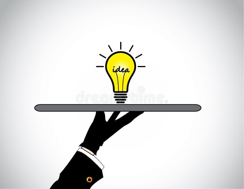 Hand presenting sharing of bright yellow idea solution lightbulb. vector illustration