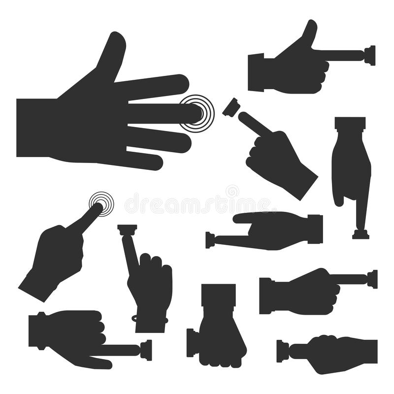 Hand press button vector silhouette finger control start up arm push pointer cursor target gesture internet human body royalty free illustration