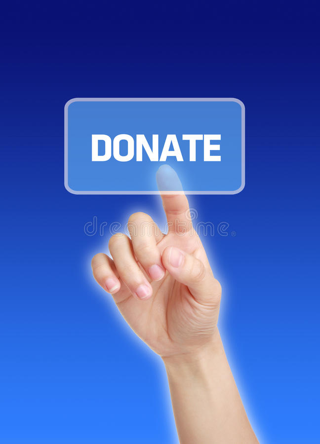 Hand Press Donate Button. Press virtual donate button with blue background stock photography