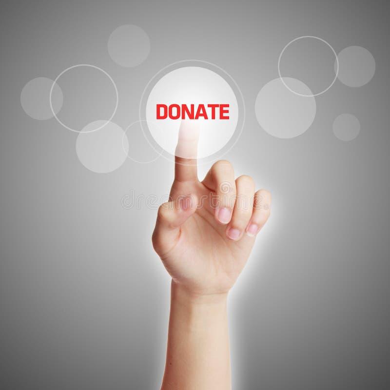 Hand Press Donate Button. Press virtual donate button with gray background stock photo