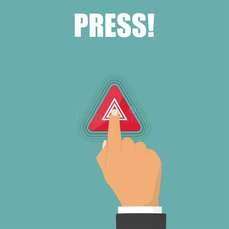 Hand press on hazard warning lights flashes button in car stock illustration