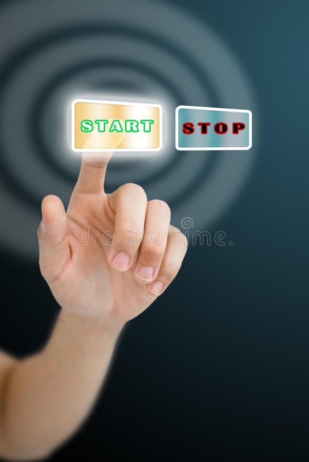 Download Hand Press The Start Button Stock Illustration - Illustration: 21127332