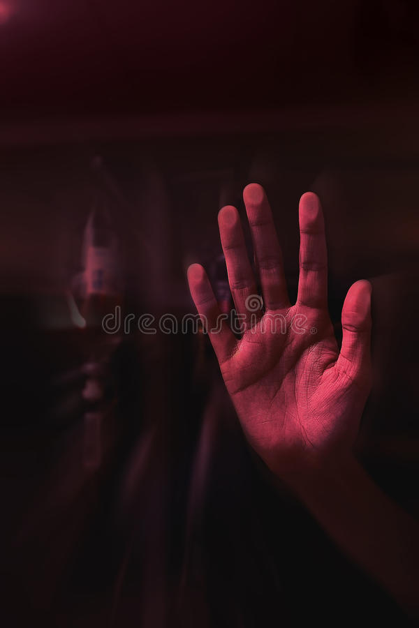 Hand pressed to the glass royalty free stock images