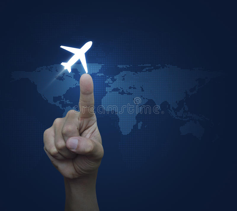 Hand pressing airplane button over digital world map blue background, Airplane transportation concept, Elements of this image fur. Nished by NASA stock images