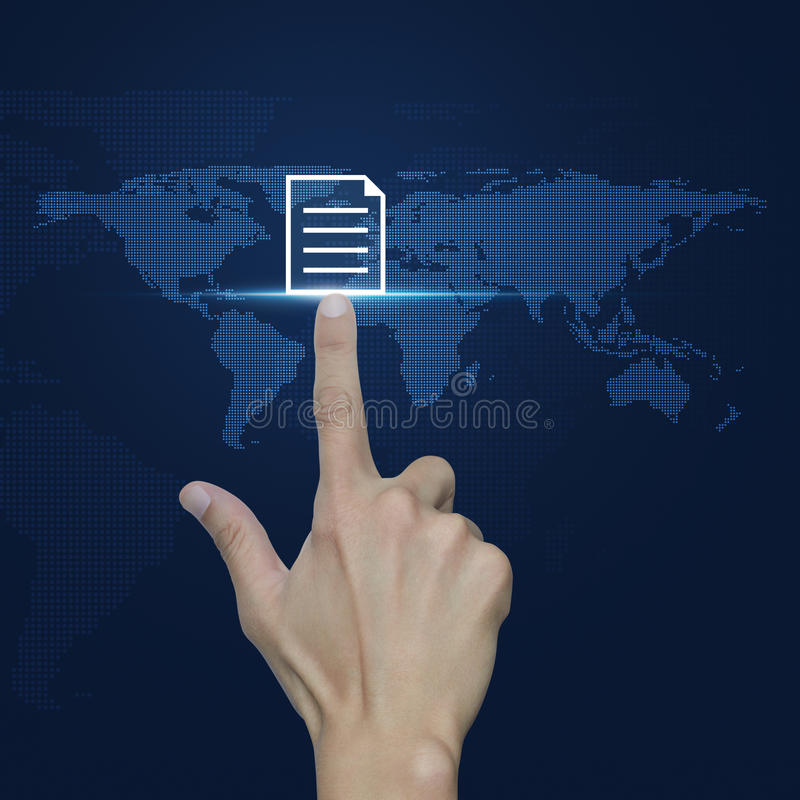 Hand pressing document icon over digital world map blue background, Elements of this image furnished by NASA stock photography