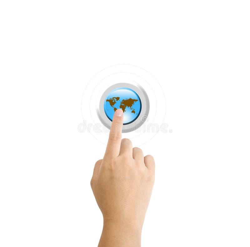 Hand pressing a Globe button stock illustration