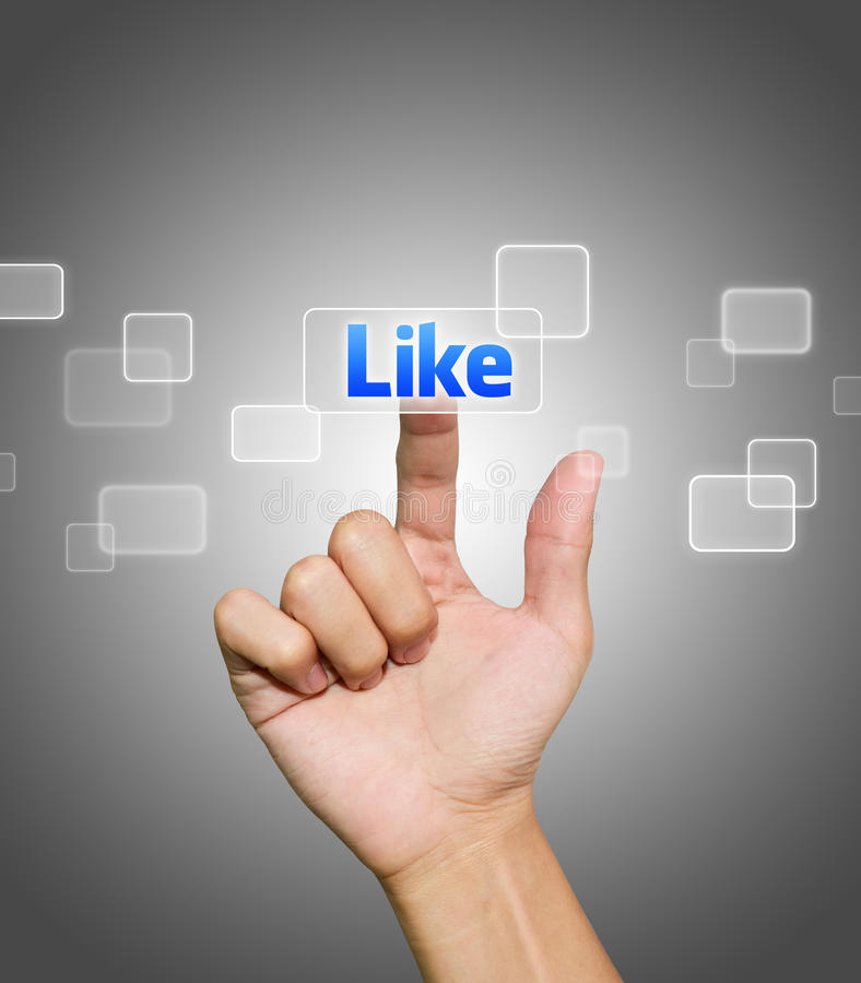Download Hand pressing Like button stock photo. Image of facebook - 20666326