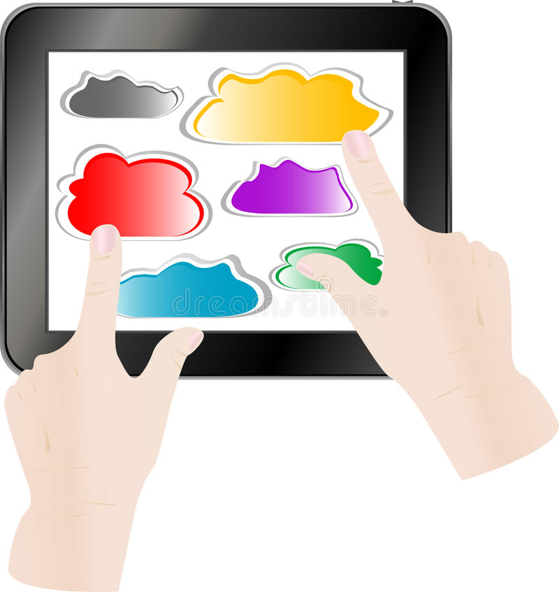 Hand Pressing A Paper Cloud On Tablet Pc Computer Stock Photography