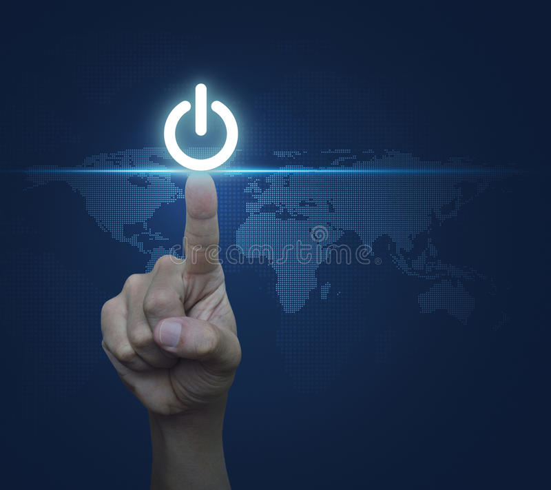 Hand pressing power button over digital world map blue background, Elements of this image furnished by NASA stock photography