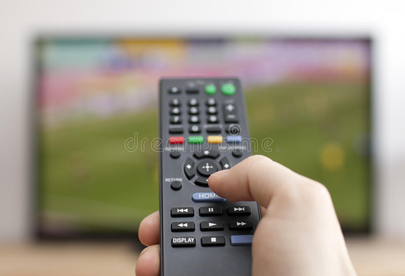 Download Hand Pressing Remote Control Stock Image - Image: 31434111