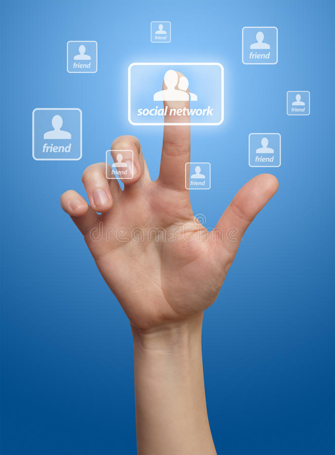 Hand pressing Social network button. Blue background royalty free illustration