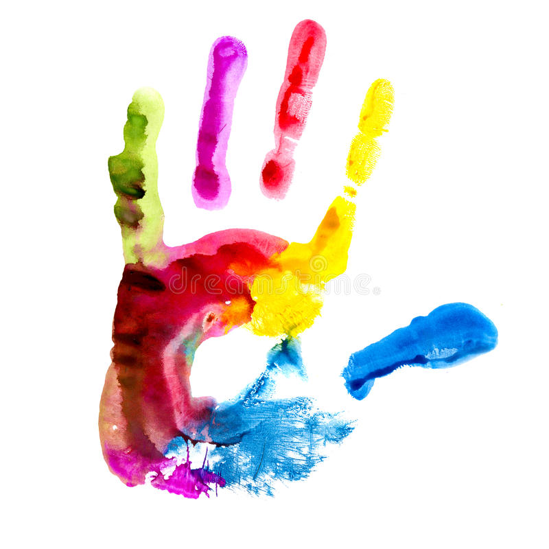 Hand print. Multicolored hand print. Body part stock photo