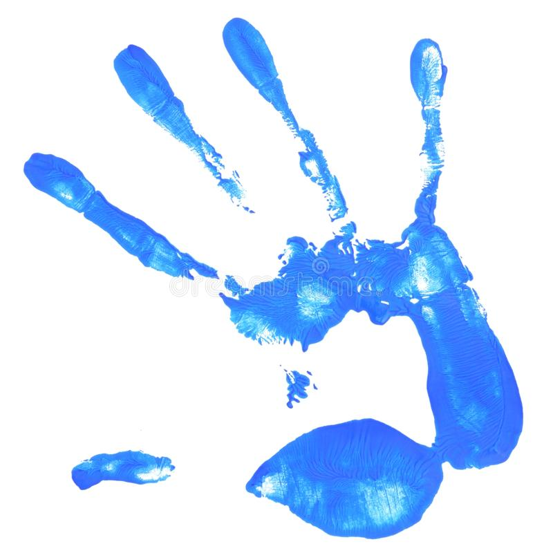 Hand print with blue color royalty free stock photography