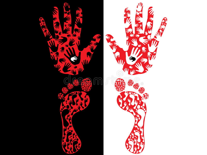 Hand Print  And Foot Print Royalty Free Stock Images