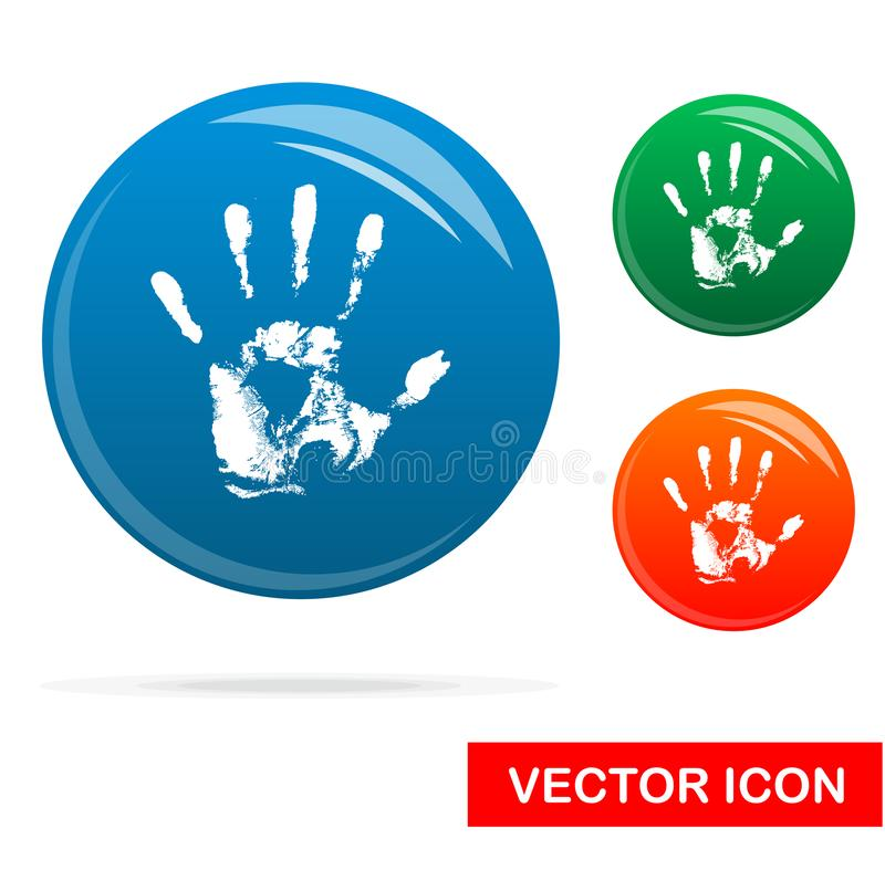 Hand print Icon on white background, Vector Icon stock illustration