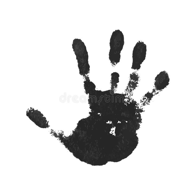 Hand print isolated on white background. Black paint human hands. Silhouette of child, kid, young people handprint stock illustration