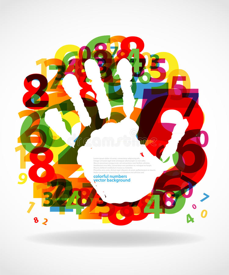 Hand print with numbers