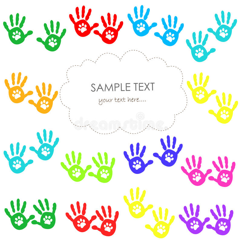 Hand print with paw print colorful greeting card stock vector download hand print with paw print colorful greeting card stock vector illustration of cute m4hsunfo