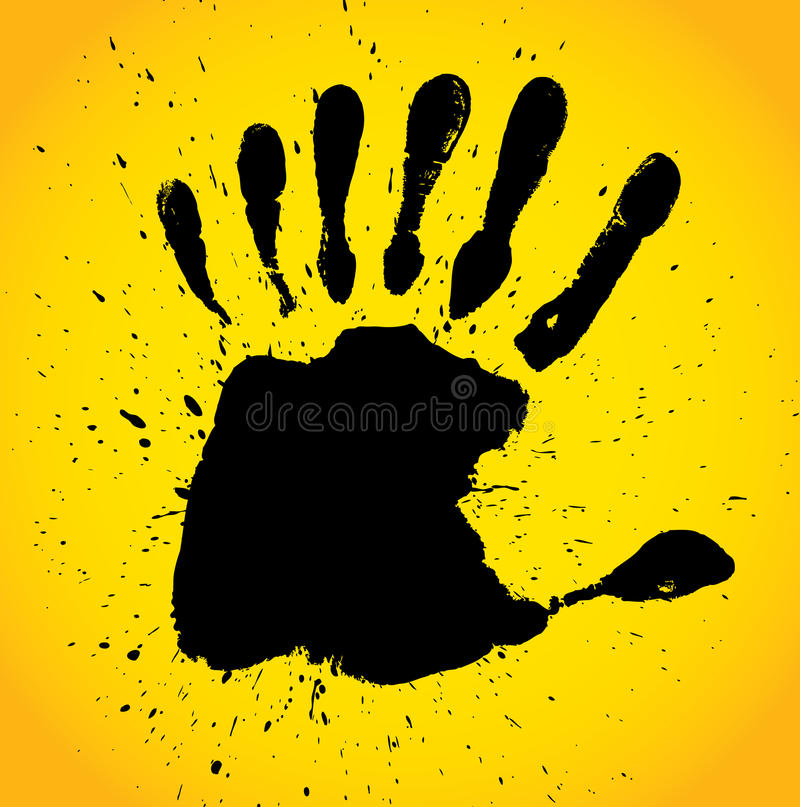 Hand print with seven fingers vector illustration
