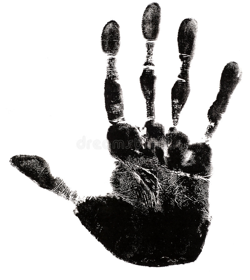 Hand Print Silhouette. Hand print on a white background