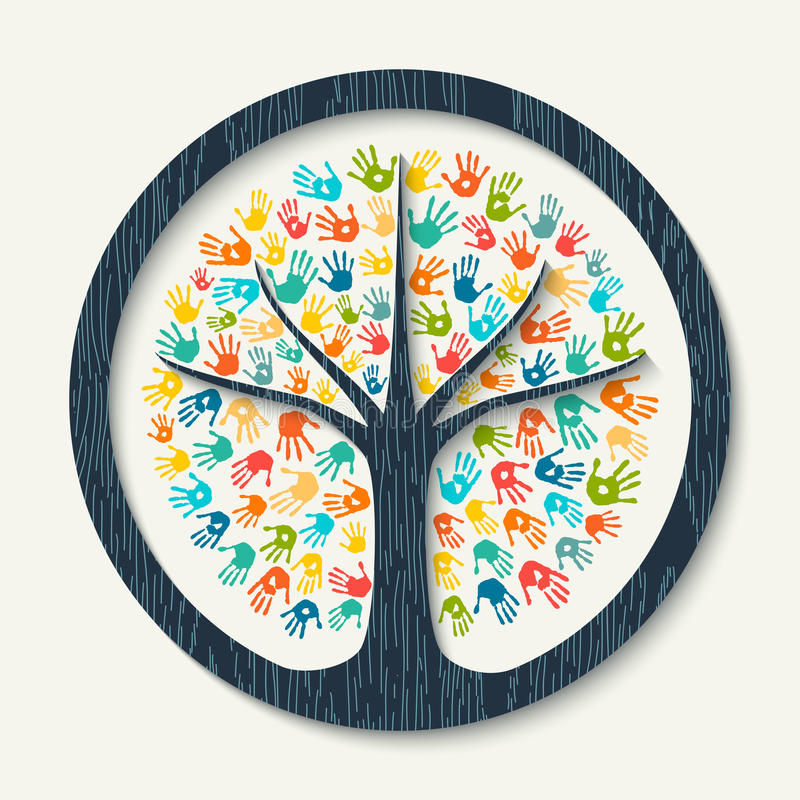 Hand print tree of diverse community team help vector illustration