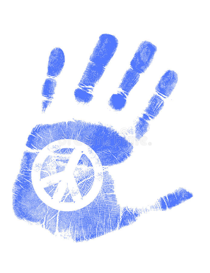 Hand print / Vector / Peace sign stock illustration