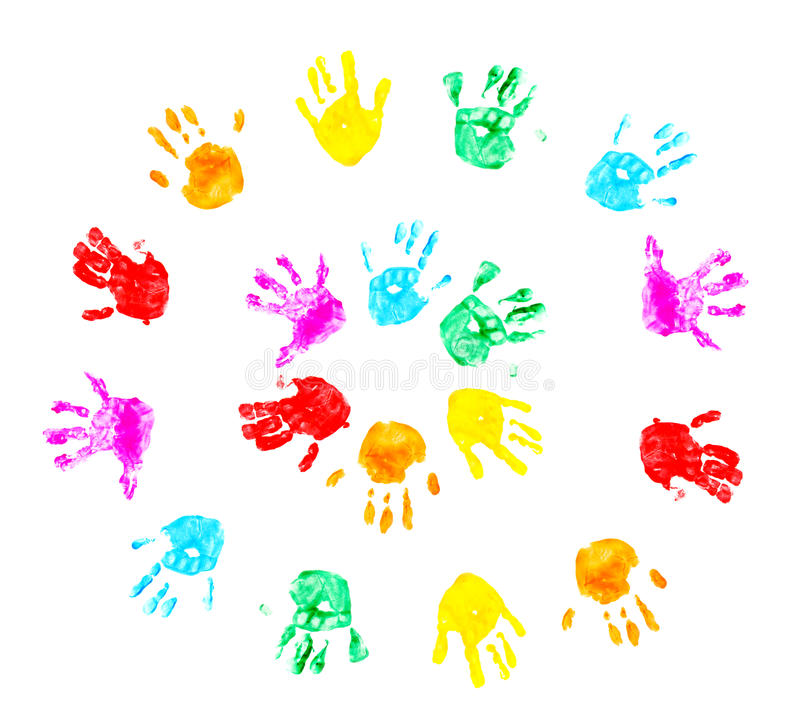 Hand prints of child isolated on a white stock photo