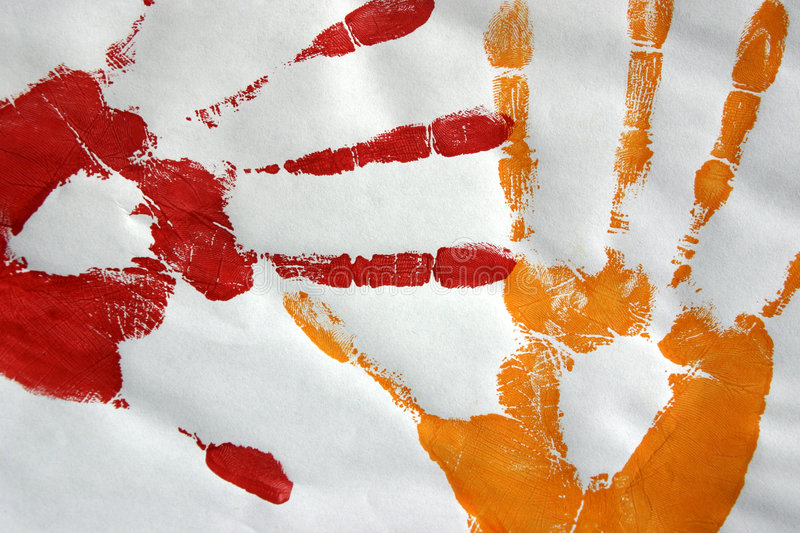 Hand prints in colour vector illustration