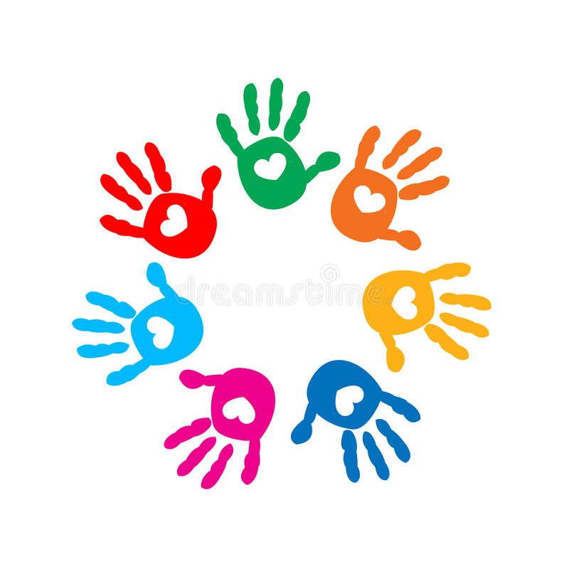 Hand prints with hearts. Full of Love icon vector illustration stock illustration