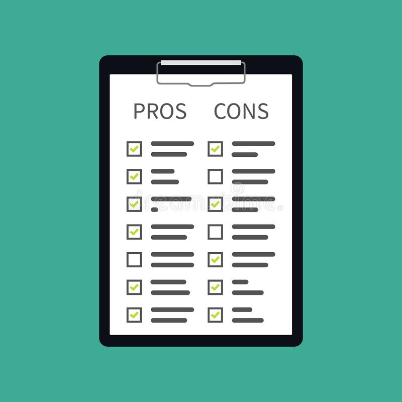 In hand. Pros cons concept on decision making process. Listing positive and negative for a solution or choice. research question. Survey royalty free illustration