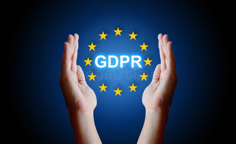Hand protection sign general data protection regulation GDPR. stock photo