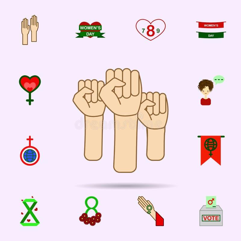 Hand protest, kvinnaf?rgsymbol Universell upps?ttning av 8 marsch f?r websitedesignen och utveckling, apputveckling royaltyfri illustrationer