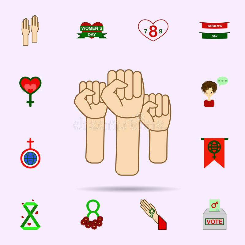 Hand, protest, woman color icon. Universal set of 8 march for website design and development, app development royalty free illustration