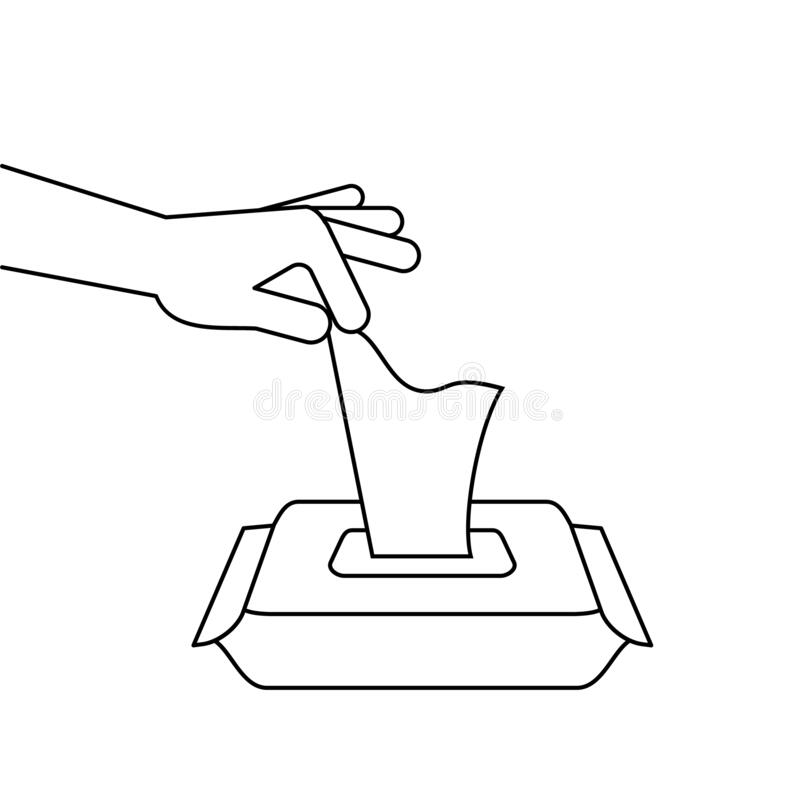 Free Hand Pulling A Wet Wipe From Portable Pack. Alcohol Antiseptic Disinfectant Tissue Box Line Icon. Stock Photography - 183246542