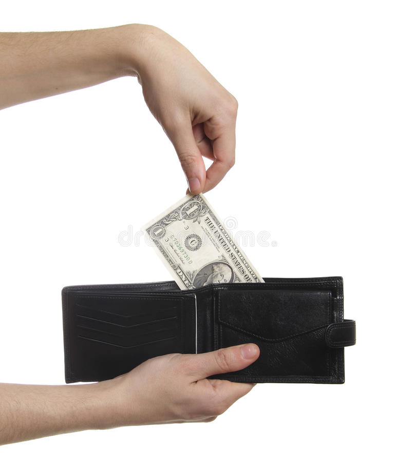 Hand-pulling the dollar from purse isolated stock images