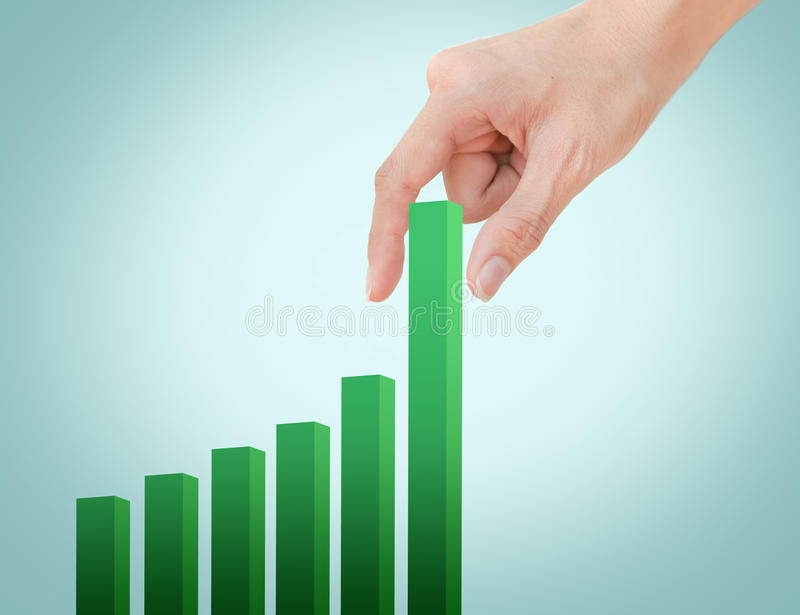 Hand pulling up graph royalty free stock photography
