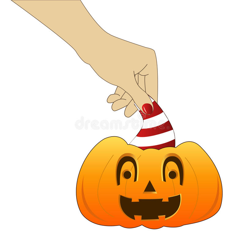 Download Hand with pumpkin stock vector. Image of illusion, nail - 21522525