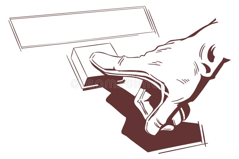 Hand pushes button. Stock illustration. Stock illustration. Hand pushes button stock illustration